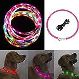 Freebily LED Hundehalsband Leuchtendes Halsbänder Blinkender LED Hunde Sicherheits Halsband für Hunde,Haustier 70cm Hot Pink One Size