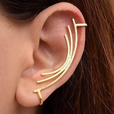 Boucle d'oreille grimpeur à la main en argent sterling 925 pour oreille non percée, faite par Emmanuela, bague d'oreille minimaliste moderne, bijoux grecs élégants, manchete d'oreille