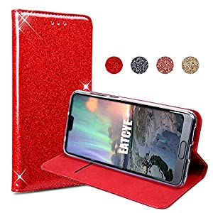EATCYE Huawei P20 PRO Handyhülle,Huawei P20 PRO Hülle, Bling Glitter Sparkle Case Lightweight Cover with Card Slots Magnetic Closure Case for Huawei P20 PRO- Rot