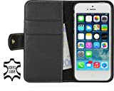 StilGut Leder-Hülle kompatibel mit iPhone 5/5s/iPhone SE Brieftasche mit Karten-Fächer und Druckknopf, Schwarz