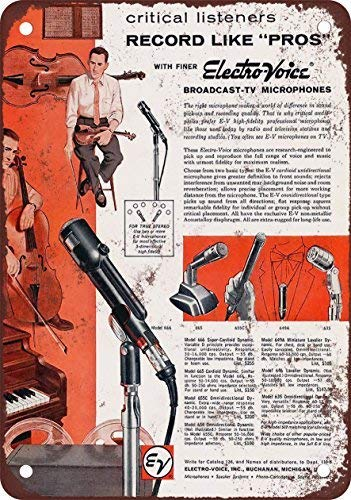 RGTG 1959 Electro-Voice Microphones Vintage Look Reproduction Metal Tin Sign 12X18 Inches