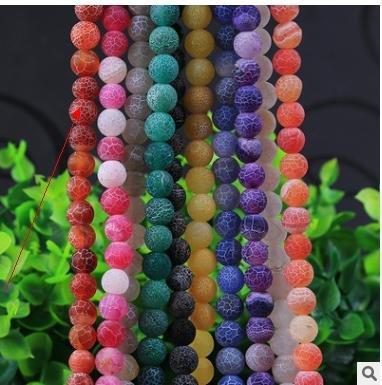 Lamdoo Natur Stein Perlen Frost gebrochenen Fire Dragon Veins Achat Runde Perlen für Schmuckherstellung 681012mm Pick Größe Rot
