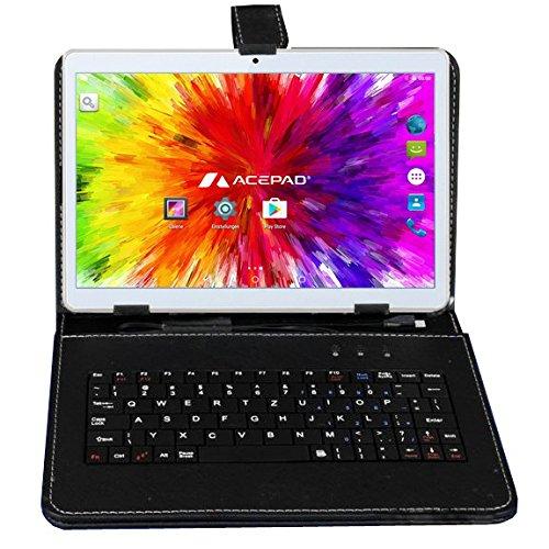 """10 Zoll (9.6"""") Tablet PC 3G (Dual-SIM) 48GB IPS HD 1280x800 Quad Core Android 5.1 WIFI WLAN USB SD (Weiß mit Tastaturtasche)"""