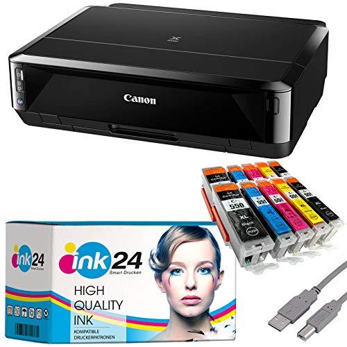 Canon PIXMA IP7250 Tintenstrahldrucker schwarz + USB Kabel & 10 komp. ink24 Druckerpatronen (Drucken per USB oder WLAN) - Originalpatronen ausdrücklich Nicht im Lieferumfang!