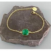 Pulsera de gema esmeralda chapada en oro de 24 quilates, Pulsera de oro, Idea de regalo, Pulsera de esmeralda, Regalos de joyería, Joyas de mujer de oro