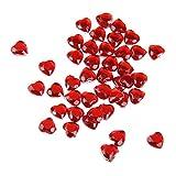 MagiDeal 400pz Strass Cuore 8 millimetri Matrimonio Flatback Abbellimento Decorazioni - Rosso