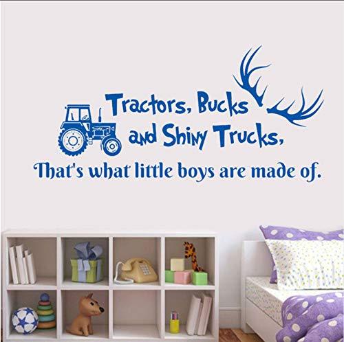 Ponana Wandtattoo Zitat Traktoren Bucks Und Shiny Trucks Hirschgeweih Auto Dump Truck Vinyl Aufkleber Kinderzimmer Jungen Schlafzimmer Dekor 57X27Cm
