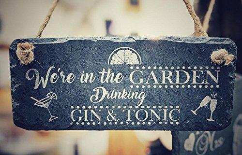 Gin-Geschenk-Schild für den Garten, komplett mit Seil zum Aufhängen, perfektes Wohnaccessoire für Gin- und Tonik-Liebhaber, 25 x 12 cm