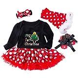 feiXIANG Vestito Principessa Bambina Abito Cerchietti Scarpe Calza di Natale Set di 4 Pezzi Abito Natale Bambina Abiti Bambina Inverno Natale Vestiti Costume Partito Gonna Tulle Bambina