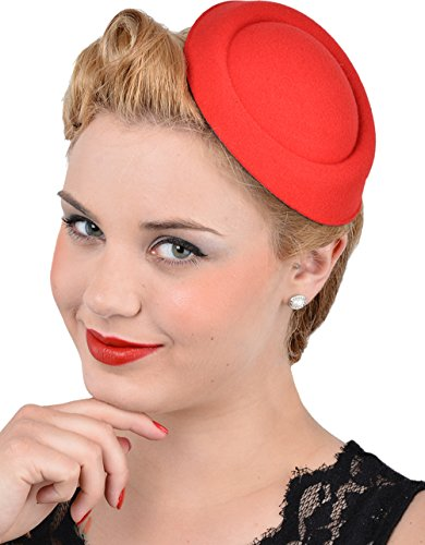 Unbekannt Damen Pillbox Hütchen Elisabeth Basic Vintage Haarschmuck Rot Durchmesser 15cm