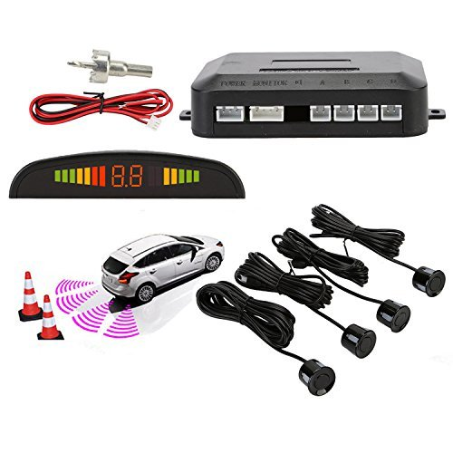 Sensori parcheggio, osan, kit auto led display + suono allarme radar retromarcia antigelo impermeabile + 4 sensori nero