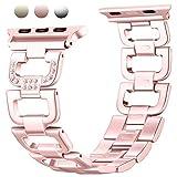 Für Apple Watch Metall Armband 38mm, Mornex Edelstahl Armbänder Ersatz Zubehör für Iwatch, Gliederarmband mit Kristall luxuriöse Edition,universelles Design für Apple Watch Series 3, 2 und 1, Rosegold