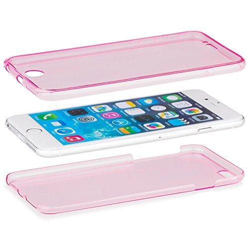 Apple iPhone 6/6S + PLUS (5.5 Zoll)   iCues Cristal Case Gold   Extra Leicht sehr Dünn Transparent Klarsichthülle Durchsichtig Klare Klarsicht 360 Grad Display Full Body Rundum beidseitig Komplett vor Pink
