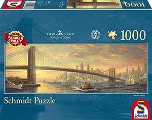 Schmidt Spiele Puzzle 59476-Puzzle Thomas Kinkade 1000Piezas Brooklyn Bridge, New York, panorámica Puzzle
