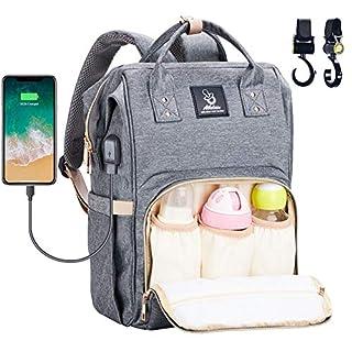 Baby Wickelrucksack Wickeltasche mit Wickelunterlage Multifunktional Oxfrod Große Kapazität Babytasche Kein Formaldehyd Reiserucksack für Unterwegs