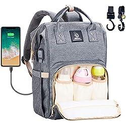 Athelain Mochilas para Pañales de Viaje - con Bolsa de Preservación de Calor, Material Impermeable, Bolsa de Hombro Grande Bolso para la Madre y el Cuidado del Bebé