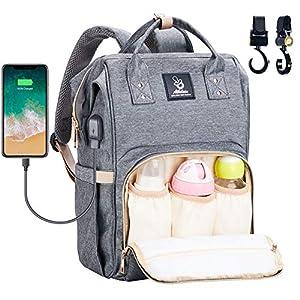 Athelain Mochilas para Pañales de Viaje – con Bolsa de Preservación de Calor, Material Impermeable, Bolsa de Hombro Grande Bolso para la Madre y el Cuidado del Bebé