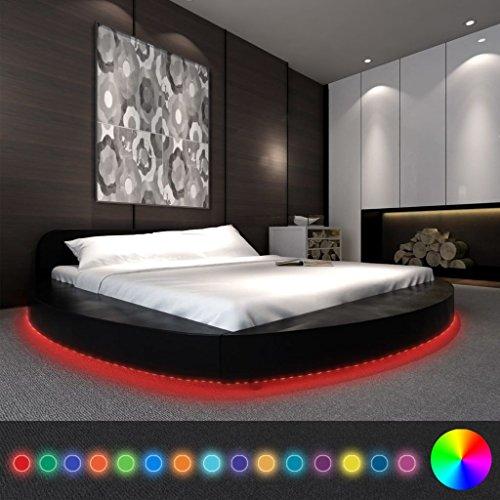 Festnight Polsterbett Bett Doppelbett Ehebett mit LED ohne Matratze 180x200 cm Rund Kunstleder Schwarz