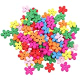 Magideal 100pcs Colored Flower Wood Buttons for Sewing Scrapbooking DIY Craft 15mm