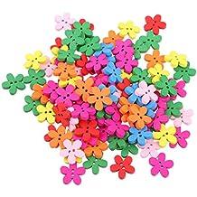 100pz Bottoni In Legno Di Fiori Colorati Per Il Cucito Scrapbooking DIY 15 mm Mestiere