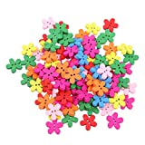#1: Magideal 100pcs Colored Flower Wood Buttons for Sewing Scrapbooking DIY Craft 15mm