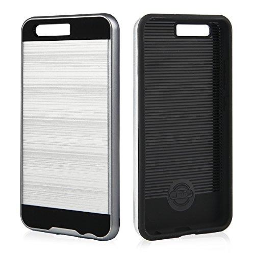 EGO® Hard Case Schutz Hülle für Huawei P10 Plus Grau Metallic Effect Aluminium Brushed Handy Cover Schale Bumper Etui Top-Qualität Silber
