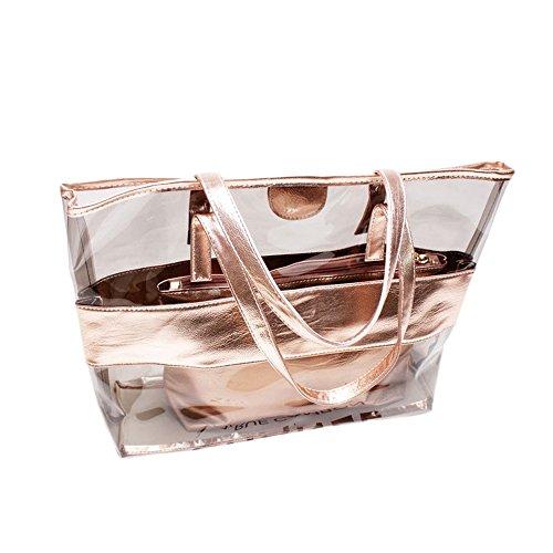 Sfit Femme 2 Packs Sac de Plage Transparent Imperméable pour Plage Voyage PVC 46 * 33 * 9CM