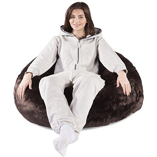 Lounge Mops Classic Kunstfell Sitzsack-Brown Bear-Größe Groß, Fluffy, Furry Komfort