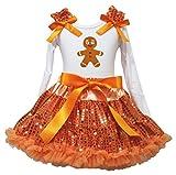 Navidad Vestido Jengibre Hombre Blanco L/S Camiseta Naranja Falda de Lentejuelas Ropa de niña 1–8Y