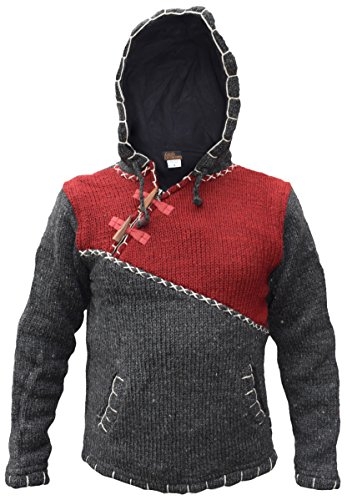 Little Kathmandu Herren Woll Fleece Gefüttert Kapuzenpullover Jacke Maroon Charcoal Mix Medium (Fleece Hoodie Maroon)