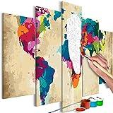murando - Malen nach Zahlen Weltkarte 100x50 cm 5 TLG Malset mit Holzrahmen auf Leinwand für Erwachsene Kinder Gemälde Handgemalt Kit DIY Geschenk Dekoration n-A-0632-d-m