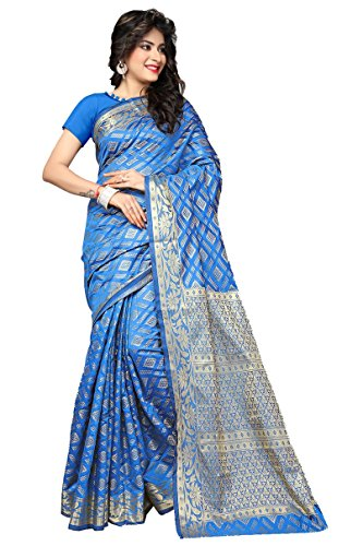 AASRI Women Wine Banarsi Silk Jacquard Zari Work Saree With Blouse Fabric