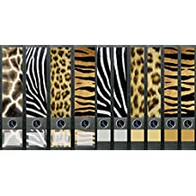 4 durchgehende Ordnerr/ücken Afrika Leopard Zebra File Sticker Ordner Aufkleber Etiketten Deko 8057