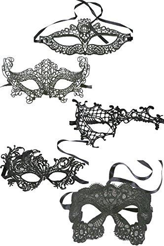 Frauen - Spitzen Venezianischen Maskenball Masken Halloween Party 5 - Packung set1 One Size (Club Venezianische)