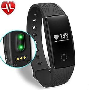 YAMAY® Fitness Tracker avec moniteur de fréquence cardiaque, Poignet Bluetooth Smart Bracelet Sport Podomètre Tracker activité avec cardiofréquencemètre / Step Tracker / Compteur de calories / Sleep Tracker Compatible avec iPhone iOS et Android Phone