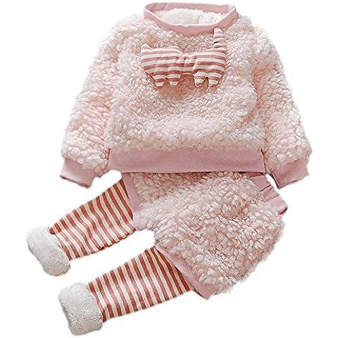 ZARU Bebé infantiles de dibujos animados falso invierno de piel de lana caliente set Capa gruesa + Ropa de Pantalones