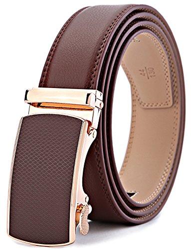 BULLIANT Cinturón Hombre, Cinturón de Trinquete Deslizante Para Hombres Piel Genuina,Recortar para Ajustar