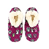 Lazy One Unisex Night Owl Kids Fuzzy Feet Slippers Size 12-1