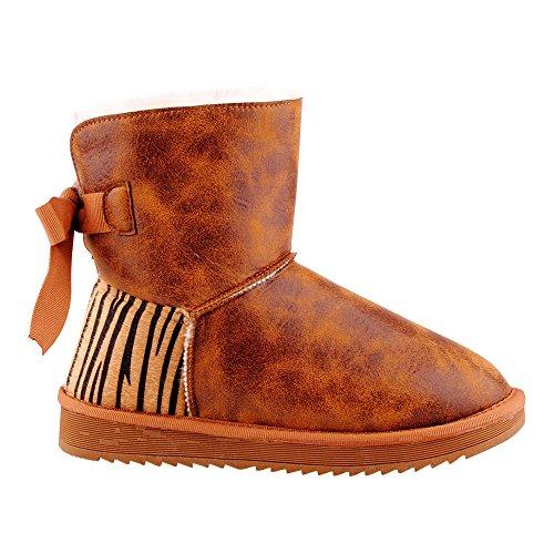 Damen Boots Stiefel Stiefeletten Warm Gefüttert Schuhe Camel