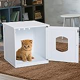 Pawhut 2 in 1 Wooden Litter Box Toilet Cat Home Pet House 51 x 51 x 48.5 cm (White)