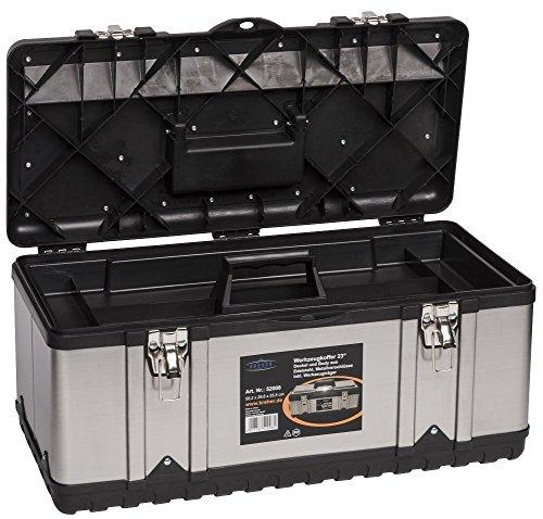 Werkzeugkoffer Set aus zwei Edelstahlkoffern – PROFI 18 + PROFI 23 – mit robustem Kunststoff-Rahmen, Stoßschutz an den Kanten, herausnehmbaren Werkzeugträger und Ablängvorrichtung, mit abschließbaren Metallverschlüssen - 2