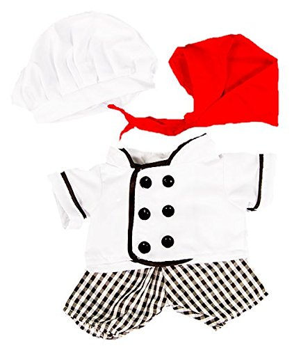 Kochen Kostüm für Teddybären - 20cm - Teddybär-Klamotten - Teddybärkleidung (Bear Kopf Kostüm)
