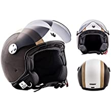 "Armor · AV-84 ""Vintage Creme"" (yellow) · Casco moto Demi Jet · Retro motocicleta Urbano Scooter Helmet Urban · ECE certificado · Visor · Click-n-Secure™ Clip · Bolsa de transporte · XL (61-62cm)"