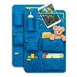 Laleni Kinder Autositzorganizer, Rückenlehnenschutz - Autositzschoner, 8 Fächer, Tablet-Halter, blau, 2 Stk
