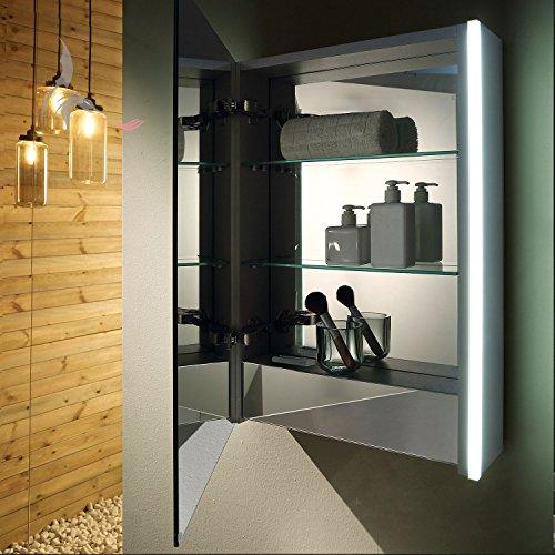 TOP AKTION FRÜHLING ! Bad Spiegelschrank LED beleuchtet, 1 soft close Tür, Schrank innen komplett verspiegelt, mit Steckdose innen, Ablageböden aus