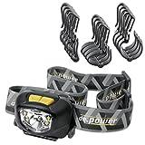 de.power Set LED-Stirnlampe mit Helmhalterung, Kunststoff, Schwarz, 6,3 x 4,6 x 3,6 cm, 2 Einheiten