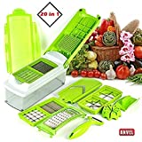 #5: ANVEL 20 in 1 Plastic High-Grade Rust-free Stainless Steel Blades Vegetable Choppers for Kitchen, Large (Green) - 20 Different Tools