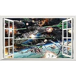 Chicbanners Star Wars V732 Magic Window Sticker Mural Autocollant pour décoration Murale 1000 mm de Large x 600 mm de Profondeur