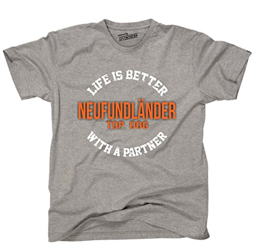 Siviwonder Unisex T-Shirt NEUFUNDLÄNDER - LIFE IS BETTER PARTNER Hunde Sports Grey