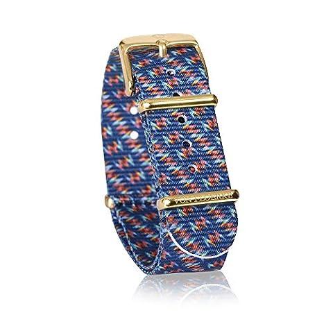 Hochwertiges 18mm Uhren-Armband für die Uhr Nato Strap – blau, blau orange – Länge 23 cm – Uhrenband aus 100% Nylon by VON FLOERKE